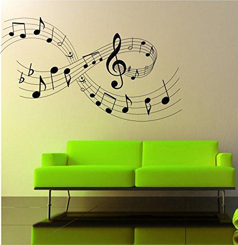 Adesivo a muro, tema: note musicali, dimensioni: larghezza 97 cm x altezza 56 cm, lv15