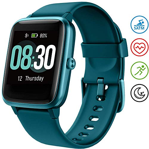 UMIDIGI Smartwatch Fitness Tracker Uwatch3, Armbanduhr Sportuhr Smart Watch für Damen Herren Kinder mit Herzfrequenz Schlaftracker 5 ATM Wasserdicht Kompatibel mit Android und IOS, Blau