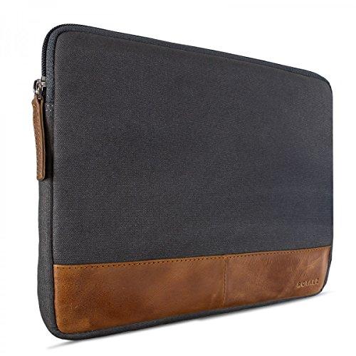 ROYALZ Universal Canvas Tasche für Tablets 8,9 Zoll - 10 Zoll (Tablets bis max: 24cm x 17cm x 1,5cm) Design Tablet Sleeve Hülle aus Canvas grau/Rindsleder braun