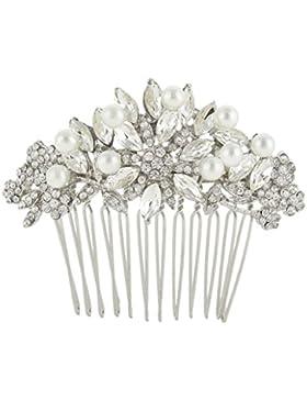 EVER FAITH® österreichischen Kristall künstliche Perle Blume Form elegant Braut Haarkamm Haarschmuck Silber-Ton...