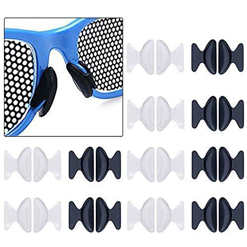 euhuton 12 Paar 1,8 mm Anti Rutsch Sonnenbrille Nasenpolster Silikon Nasenpads Brille Nasenpads für Brillen Sonnenbrillen Lesebrille (schwarz und transparent)