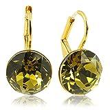 Ohrringe mit Kristalle von Swarovski Gold Grün Khaki NOBEL SCHMUCK