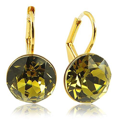 Ohrringe mit Kristalle von Swarovski® Gold Grün Khaki NOBEL SCHMUCK (Strass Ohrringe Kleine)