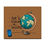 Shopbuzz Let's travel the world printed rectangle mouse pad