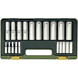 Proxxon 23292 Tiefbett-Steckschlüsselsatz, 1/4 Zoll + 1/2 Zoll, 20-teilig