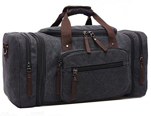 Leinwand Seesack über Nacht Reisetaschen DUFFLE Reisetasche für Herren Leinwand & Leder Turnbeutel Frauen, schwarz (schwarz) - LYSB06X9V2BD1-OFFSUPPLIES -