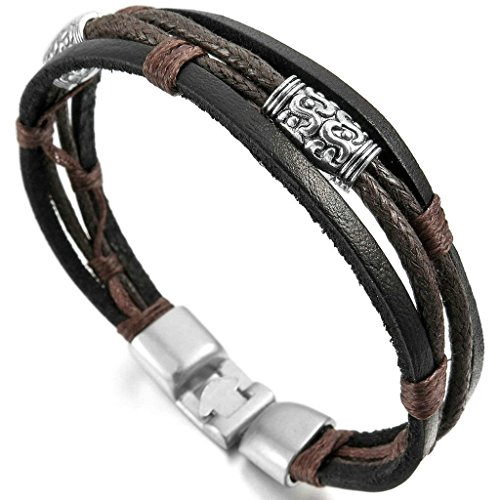 men-alloy-genuine-leather-bracelet-bangle-rope-black-silver-brown-braided-tribal