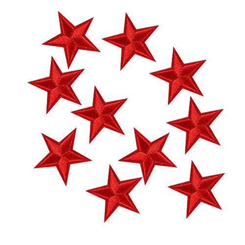 Merssavo 10 Pcs Stern Stickerei Nähen Eisen auf Patch Abzeichen Kleidung Applique Tasche Stoff Rot Rote Eisen-auf Stoff
