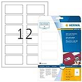 Herma 9643 QR-Code Etiketten rechteckig, blickdicht (80 x 40 mm, DIN A4 Papier matt) 300 Aufkleber, 25 Blatt, weiß, bedruckbar, selbstklebend