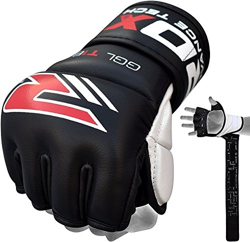 RDX MMA Handschuhe Profi Kampfsport Boxsack Sparring Freefight Rindsleder Grappling Gloves Sandsack Training Punchinghandschuhe(MEHRWEG)