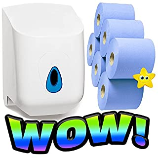 6 x Blue Centrefeed Tissue Rolls & 1 Mountable ABS Wall Dispenser Unit Suitable for Gyms/Restaurants & Shops