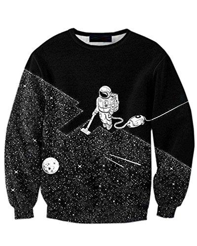 Jolime maglione felpa girocollo stampato astronauta divertente sweatshirt pullover uomo negro eu m=tag 3xl