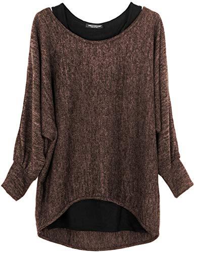 Emma & Giovanni - Damen Oversize Oberteile Tshirt/Pullover (2 Stück) / Made In Italy, L-XL,  Braun