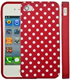 Apple iPhone 4/4S - iPhone 4G Polka Dot Series Red TPU Gel Case Cover - White/Red - Accessories4Life