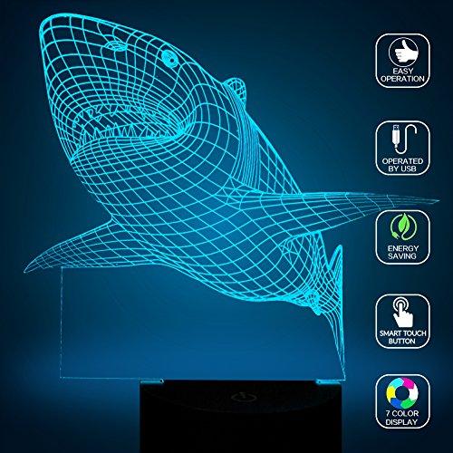 Creative Squalo 3D Led illuminazione notturna, FZAI incredibile illusione ottica 7 colori bambini camera da lampade da tavolo touch interruttore Grandi