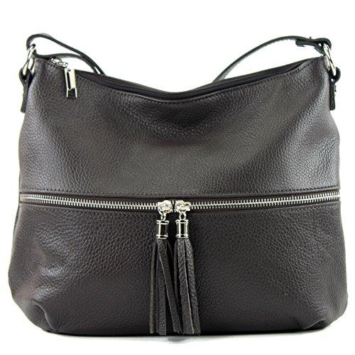 modamoda de - ital. Ledertasche Damentasche Umhängetasche Tasche Schultertasche Leder T159 Dark Chocolate