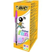 BIC Cristal Fun - Caja de 20 bolígrafos, tinta multicolor