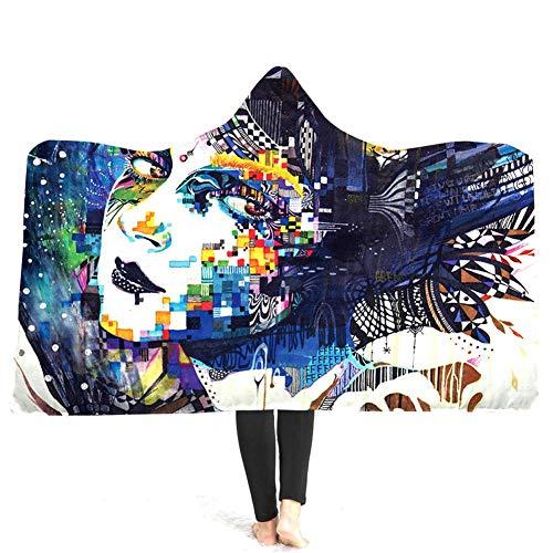 (Umhang-Abendkleid 3D Digital-Druck Verdickte Doppelschicht-mit Kapuze Blanket-Umhang Mit Buntem Skeleton Muster)