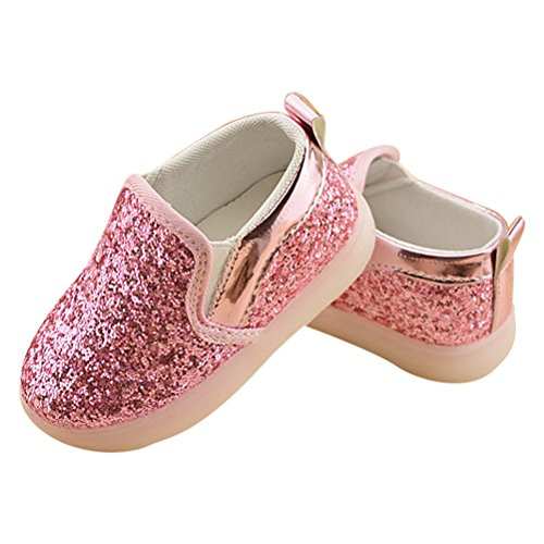 Zhuhaitf Kids Boys Girls LED Shoes Sport Sneakers Athletic Light Up Flashing Trainers Shoes Pink