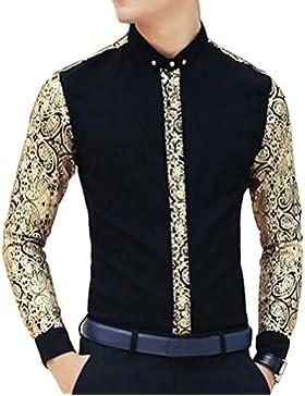 Ouye Uomo Camicia Casuale Slim Fit Manica Lunga Oro Floral