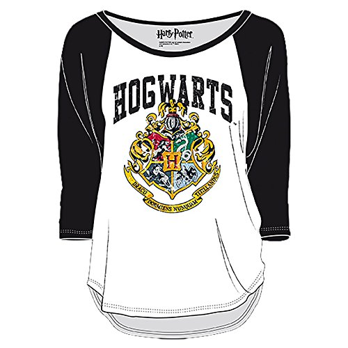 Harry Potter Damen Longsleeve Hogwarts Wappen Distressed weiß schwarz - M