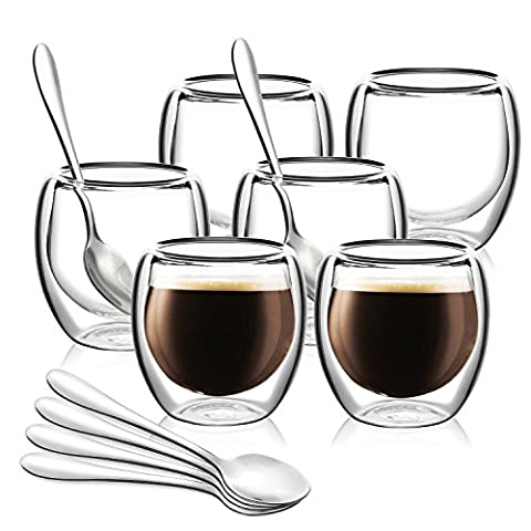 Ackmond 80ml Lot de 6tasses double paroi Tasses à espresso en verre avec 6Cuillères en acier inoxydable