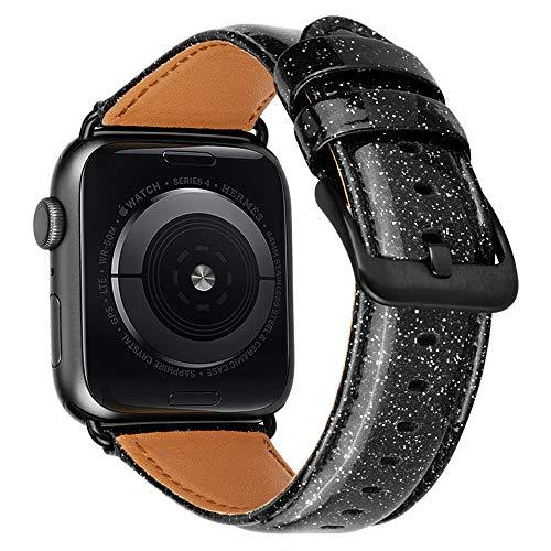 iBazal 42mm 44mm Lederarmband Kompatibel mit iWatch Series 4 3 2 1 Armband 44mm 42mm Leder Uhrenarmband Bands Armbänder Uhrarmband Glänzender Bling Lederband Watchband Herren Damen Uhr - Schwarz 42/44