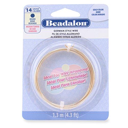 Beadalon German Style Wire, Round, Gold Color, 14 Gauge, 1.3 Meters by Beadalon - 014 Gauge