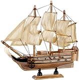 Playtastic Modellbau Bausatz: 70-teiliger Schiff-Bausatz Flaggschiff aus Holz (Holzschiff)