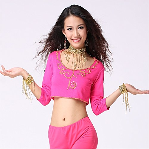 Women Sexy Dance Tops Bauchtanz Costume 3/4 Sleeve Flower Prited Top Dancewear Bauchtanz Tops Dark Pink