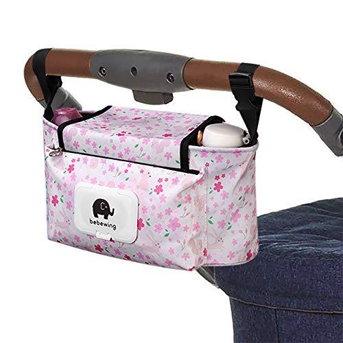 Kinderwagen Organizer,Kinderwagentasche Buggy Organizer Tasche Universal Multifunktion Aufbewahrungstasche Stroller Organizer Baby Wickeltasche Kinderwagen-Zubehör -Pinke Blumen