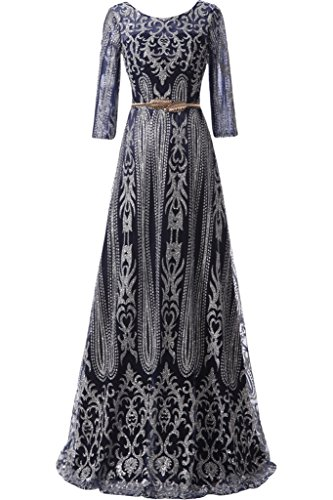 Milano Bride Damen Glarmour Langarm Abendkleider Ballkleider Promkleider mit Stickerei Guertel Bodenlang Navyblau
