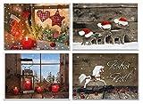 Weihnachtskarten-SET 4 x 5 Stück weihnachtliche Karten Foto-Motiv rot blau Holz-Optik natürlich Foto-Karten Glückwunschkarte Frohe Weihnachten Frohes Fest Kerze Schaukelpferd Fenster Rentiere