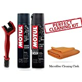 #6: Motul Combo of C2 and C1 (400 ml) with GrandPitstop Bike Chain Cleaning Brush Red and Microfiber Cloth