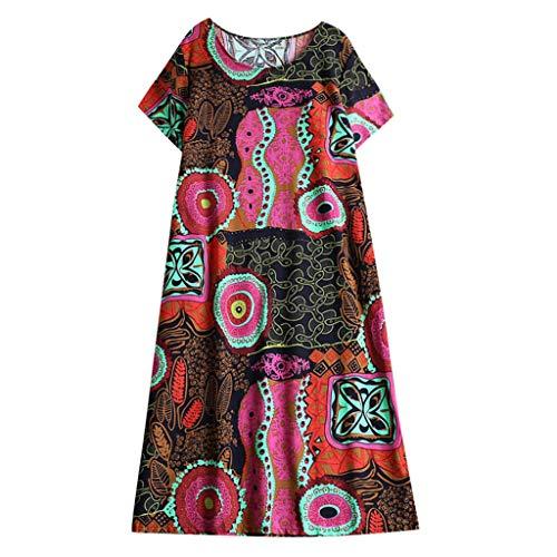 Damen Frühling und Sommer T-Shirt,Rifuli® Damen Baumwollkleid Retro Ethnic Print Kurzarm Kleid Bekleidung Damen Pullover Strickjacken Tops