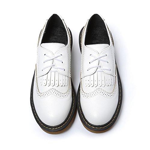 Smilun Chaussures Femme Brogues Richelieu Lacets Autobloquants Frange Bout Rond Blanc