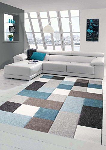 Traum Teppich Designerteppich Moderner Teppich Wohnzimmerteppich Kurzflor mit Konturenschnitt Öko-Tex in Grau Türkis Weiß, Größe 120x170 cm