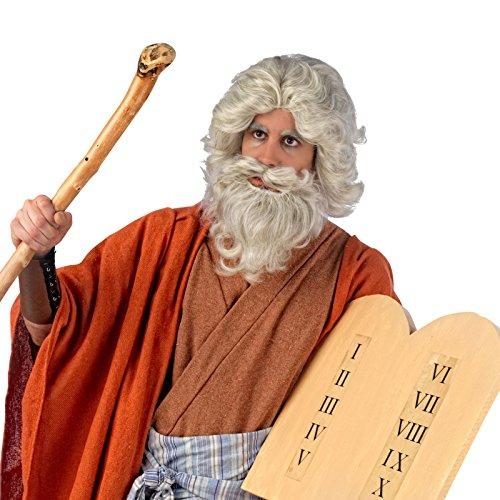 Zauberer Wanderer Moses Perücke und Bart, Kostüm Zubehör Set, weiß-grau, ideal für (Moses Perücke Erwachsenen Bart Und)
