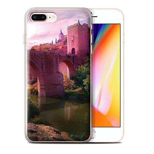 Officiel Elena Dudina Coque / Etui Gel TPU pour Apple iPhone 8 Plus / Ville dans Arbres Design / Fantaisie Paysage Collection Pont Château/Fossé