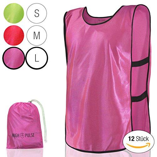 High Pulse Trainingsleibchen (12 Stück) - Markierungshemden zur Kennzeichnung von Mannschaften im Training und Spiel (Pink | Erwachsene) (Für Erwachsene Leibchen)