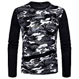 MRULIC Herren Casual Camouflage Print O-Ausschnitt Pullover Langarm T-Shirt Top Bluse(Grau,EU-56/CN-XL)