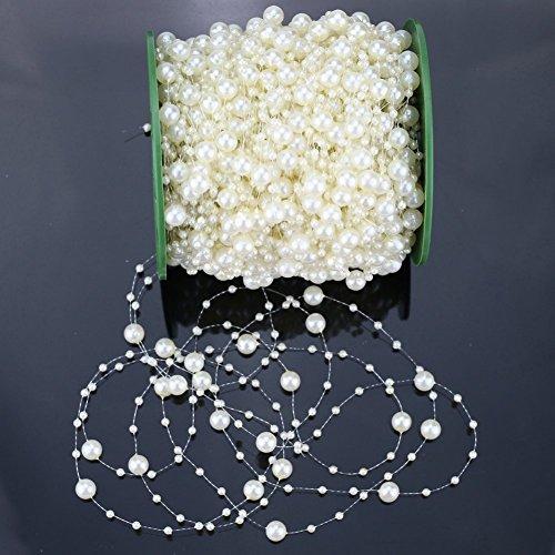 ICTRONIX 60m / Rolle Perlenband Perlenkette Perlengirlande Perlenschnur Hochzeit Deko Perlen Tischdeko Rose Elfenbein