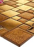 Mosaikmuster Glasmosaik Mosaik Fliesen Mosaikfliesen Glasfliesen Glas Gold 15x15cm Neu
