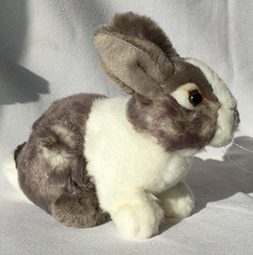 Hase Zwerghase Zwergkaninchen grau-weiß sitzend * 19 cm * Plüschhase Plüschtier Bunny