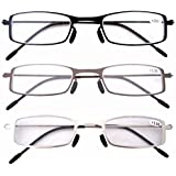 Gafas de Lectura con Montura de Acero Inoxidable de 3 Paquetes para Hombre y Mujer