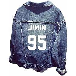 ShallGood Unisex Tops Sudadera Ropa Tops Chaqueta de Mezclilla para Army Suga Jin Jimin Jung Kook J-Hope Rap-Monster V 95 Jimin Un Tamaño (ES 34-44)
