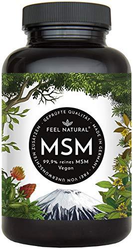 MSM Kapseln - 365 vegane Kapseln (6 Monate). 1600mg MSM (Methylsulfonylmethan) Pulver je Tagesdosis. Laborgeprüft, ohne Magnesiumstearat. Vegan, hergestellt in Deutschland