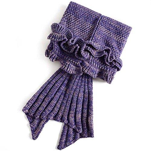 AKSSWEET Volant Decke Knitting Pattern Blanket Mermaid Schwanz-Decken-Sofa schlafen Decke / Klimaanlage Decke Kids Style (Lila)