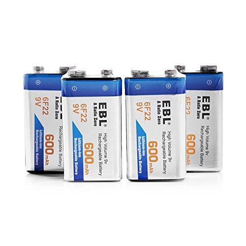 EBL 4 Pack Lithium 9V Rechargeable Batteries, 600mAh Li-ion 6F22 PP3 Batteries