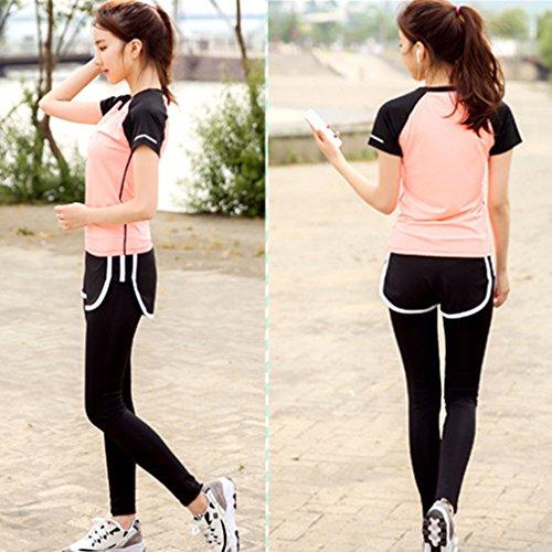 REALLION Set da yoga 3 pezzi donna (T-shirt manica corta + reggiseno sportivo + pantaloni) Abbigliamento sportivo da palestra ad asciugatura rapida Arancione e bianco
